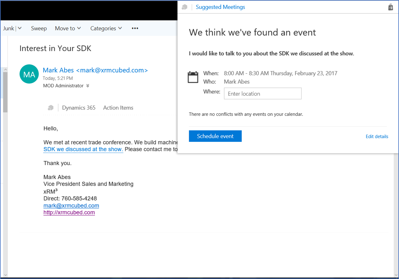 Dynamics 365 Office 365 Relationship Insights