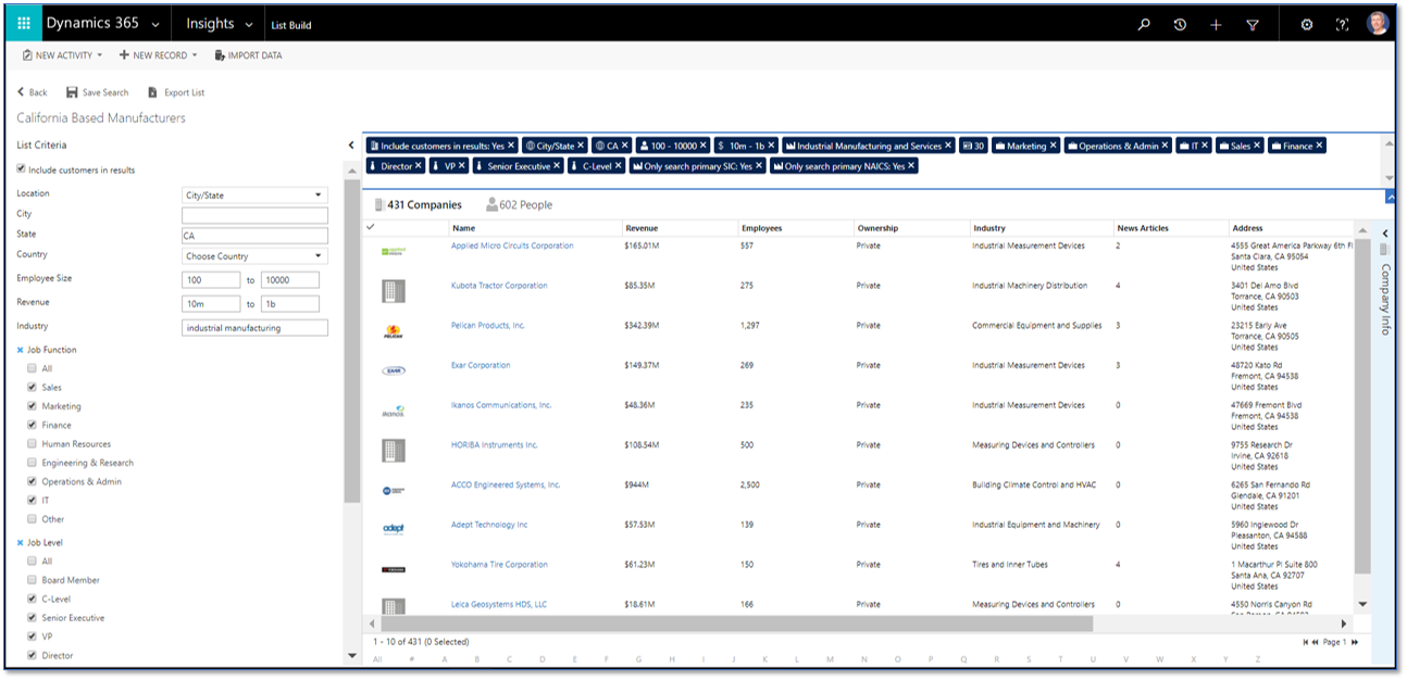 Microsoft Dynamics 365 List Building